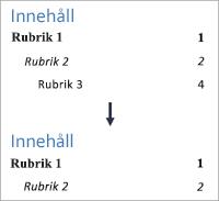 Visar ändring av antalet nivåer så att nivå 3 inte längre visas