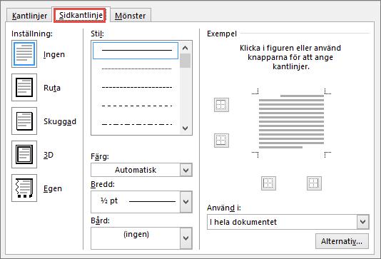 Fliken Sidkantlinje i dialogrutan Kantlinjer och fyllning i Word 2010