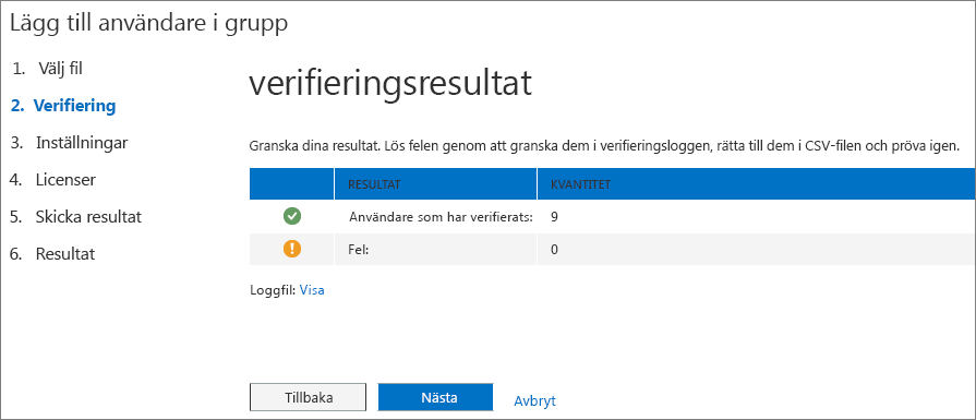 Steg 2 i guiden Lägga till användare i grupp – Verifiering