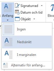 Välj Nedsänkt på Anfang-menyn.