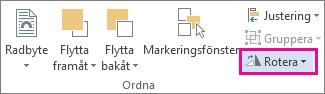Kommandot Rotera på fliken Format under Ritverktyg