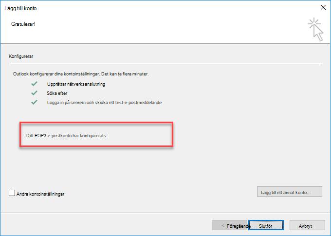 Outlook – lägga till ett POP-konto