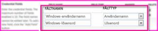 Skärmdump av avsnittet Fält för autentiseringsuppgifter på egenskapssidan Målprogram för säker lagring. I de här fälten kan du ange inloggningsuppgifter till målprogrammet