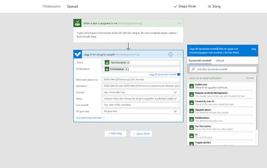 Skärmbild som visar alternativet för att lägga till dynamiskt innehåll