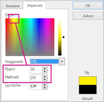 Markeringar i färgrektanglarna ställer in färgton och färgmättnad