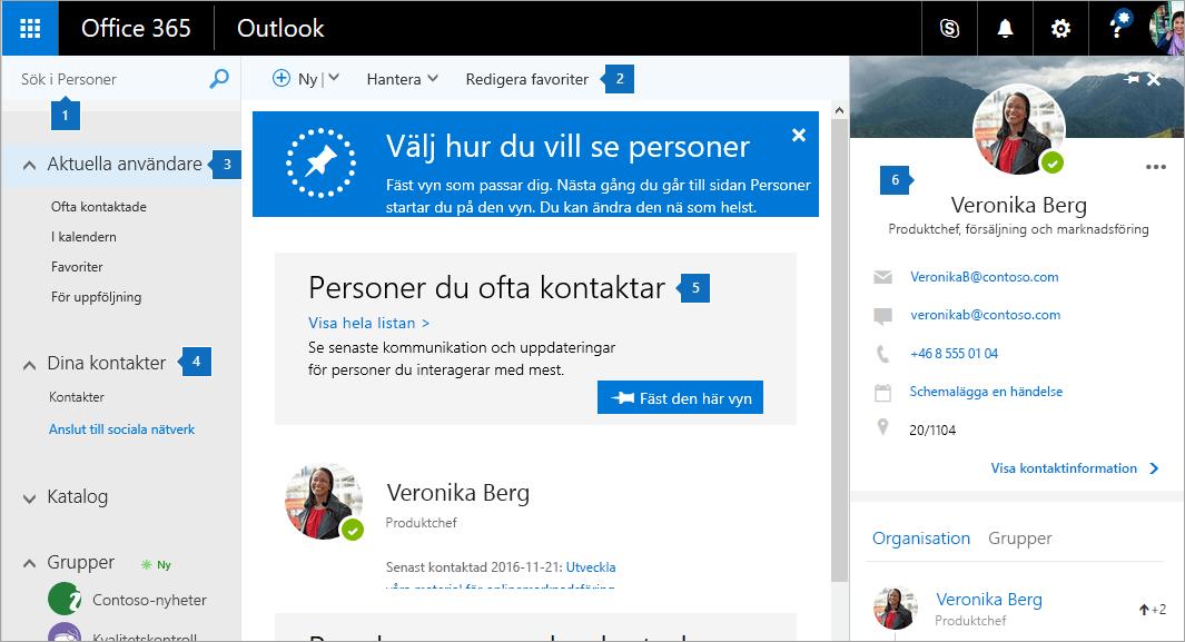 En skärmbild av sidan Kontakter.