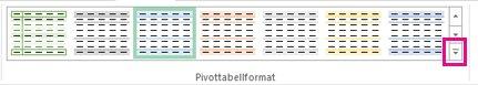 Knappen Mer i galleriet Pivottabellformat