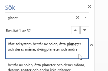 Rutan Sök i Word Online