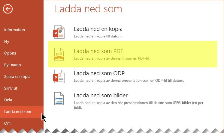 Välj Arkiv > Ladda ned som > Ladda ned som PDF
