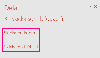 Länken Skicka en PDF i PowerPoint 2016