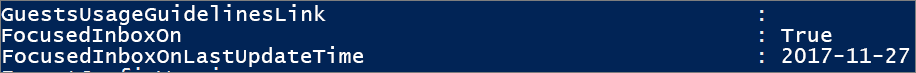 Svar från PowerShell om statusen för Prioriterad inkorg.