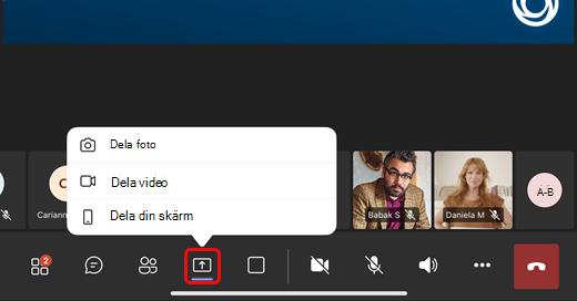 Dela foto, video eller din skärm