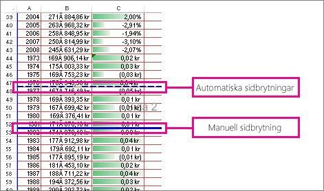 Manuella och automatiska sidbrytningar