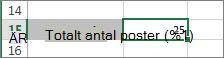 Resultat av funktionen ANTALV
