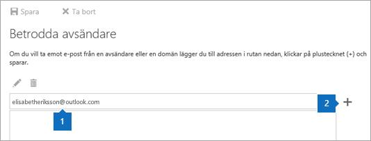 En skärmbild av sidan Spärrade avsändare.