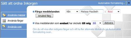 Fönstret Organisera i Microsoft Office Outlook 2007