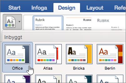 Klicka på ett tema på designfliken
