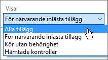 Hantera tillägg dialogrutan visar listrutan för närvarande inlästa tillägg.