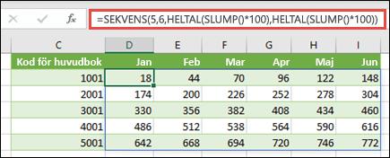 Exempel på SEKVENS som kapslats med HELTAL och SLUMP för att skapa en exempeldatauppsättning