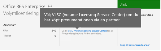 Länken Volume Licensing Service Center (VLSC).