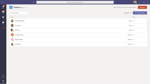 Hantera org skärmen