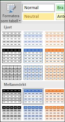 Urval i Excel-formatgalleriet för Formatera som tabell