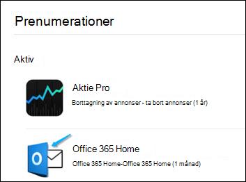 Bild som visar hur Outlook användes för att köpa Office 365.