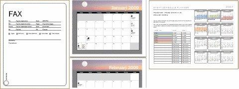 Exempel på mallar (försättsblad, kalender, schemalagda händelser)