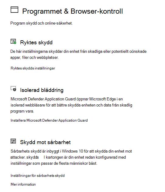 App- & webbläsarkontroll i Windows-säkerhet