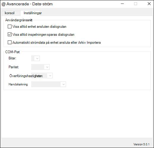 Fliken Inställningar för avancerade inställningar för Excel-dataströmmar