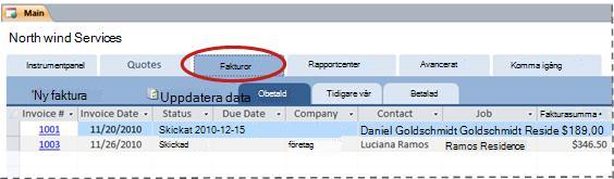 Fliken Fakturor i databasmallen Tjänster