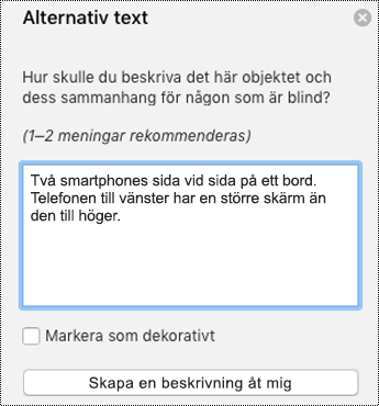 Alternativtext i PowerPoint för Mac