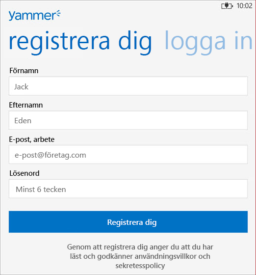 Yammer-registrering