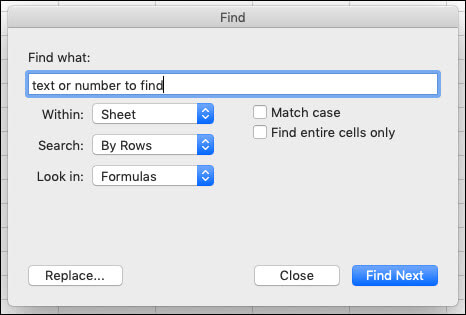 Söka efter text eller tal i en arbets bok eller ett kalkyl blad genom att trycka på CTRL + F