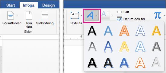 Fliken Infoga med WordArt markerat.