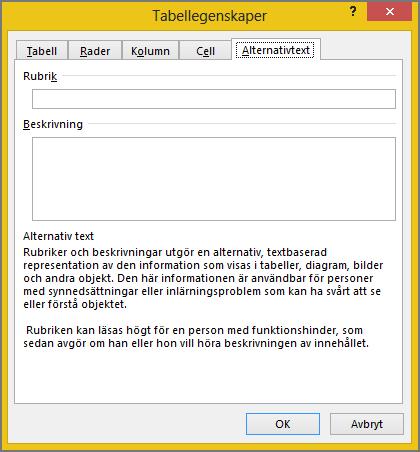 Fliken Alternativ Text i dialogrutan Tabellegenskaper