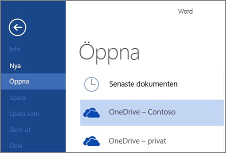 Öppna en fil från OneDrive för företag i Word