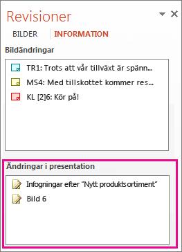 Ändringar i presentation
