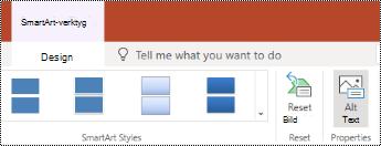 Knappen alternativ text i menyfliksområdet för SmartArt i PowerPoint Online.