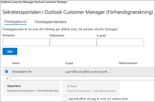 Skärmdump: Exportera Outlook Customer Manager kundernas data