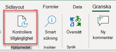 Skärmbild av användargränssnittet för att öppna Tillgänglighetskontroll