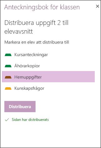 Exempel på distribuerade tilldelning har i OneNote Web App