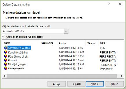 Guiden Dataanslutning > Markera databas och tabell