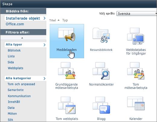 Sidan Skapa lista eller bibliotek i SharePoint 2010 med markerade meddelanden