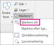 Klicka på Markera alla för att markera alla element i ritningen eller diagrammet.
