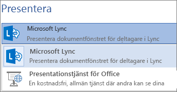 Presentera online med hjälp av Microsoft Lync