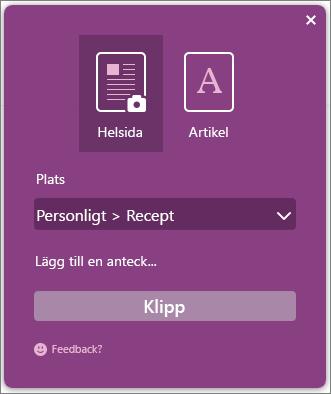 Skärmbild av dialogrutan OneNote Clipper.
