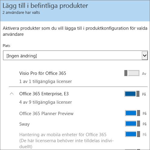 Lägg till ytterligare licenser för flera användare samtidigt.