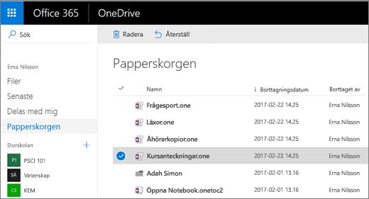 Papperskorgen i OneDrive med en lista över anteckningsboksidor. Ikonerna Ta bort och Återställ.
