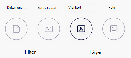 Läges alternativ för bild genomsökning i OneDrive för iOS